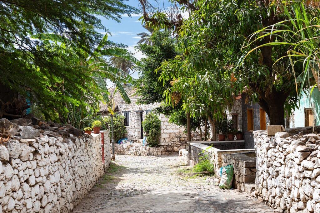 Kaapverdië Santiago straat groen bomen