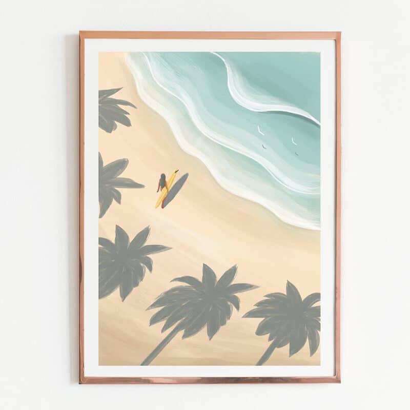 Poster van het strand van Kaapverdië met palmbomen