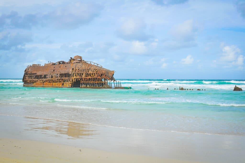 Het scheepswrak van de Scheepswrak MS Cabo Santa Maria op het strand van Boa Vista
