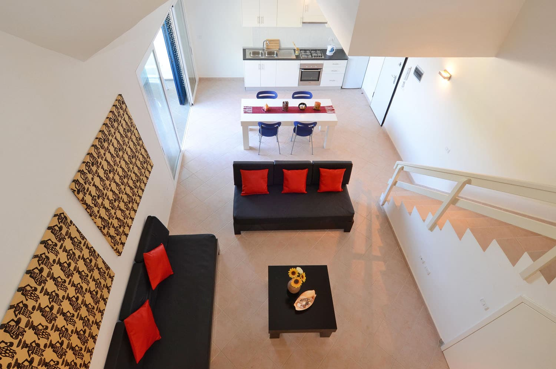Leme Bedje appartementen, hotel, Sal Kaapverdië, Santa Maria, vide woonkamer keuken