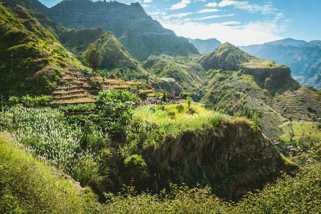 Groene vallei op het Kaapverdische eiland Santo Antao
